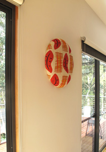 upholstered wall button in situ