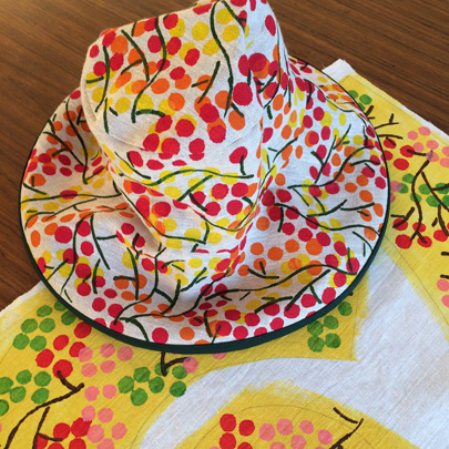 Penny Malone hand printed sun hat